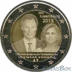 Люксембург. 2 евро. 2015 год. 15-летие вступления на престол Великого Герцога Генри.