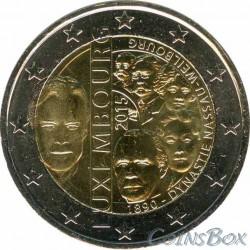 Люксембург. 2 евро. 2015 год. 125-летию династии Нассау-Вайльбург.