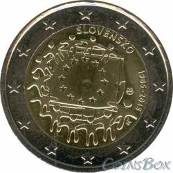 Словакия. 2 евро. 2015 год. 30 лет Флагу ЕС