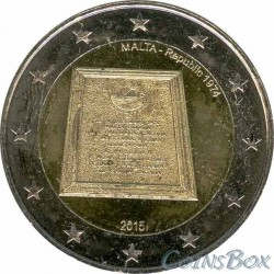 Malta. 2 euros. 2015. Proclamation of the Republic