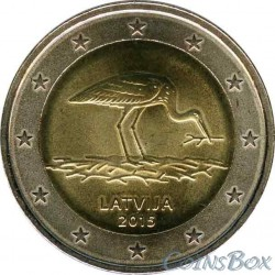 Латвия. 2 евро. 2015 год. Черный Аист