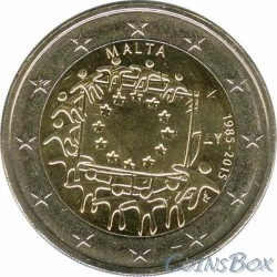 Malta 2 euro. 2015. 30 years of the EU flag.