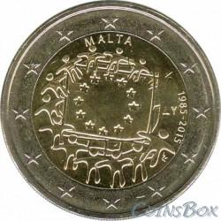 Мальта. 2 евро. 2015 год. 30 лет Флагу ЕС.