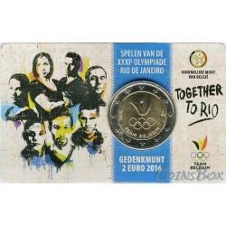 Бельгия 2 евро 2016 год. Олимпиада в Рио-де-Жанейро