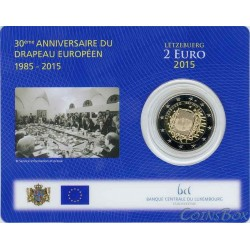 Luxembourg. 2 euros. 2015. 30 Flag of the EU. coincard