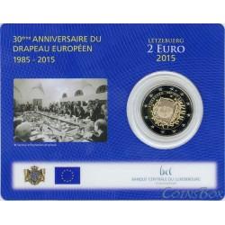 Люксембург. 2 евро. 2015 год. 30 лет Флагу ЕС. коинкард