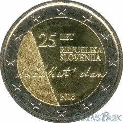 Slovenia. 2 euros. 2016. 25 Years of Independence