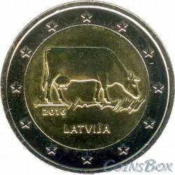 Латвия. 2 евро. 2016 год. Корова