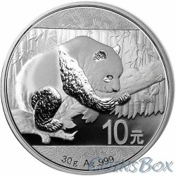 10 юаней 2016. Панда. Серебро