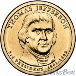 1 Доллар. 3-й президент США. Томас Джефферсон.