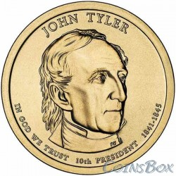 1 dollar. 10th US President. John Tyler. 2009