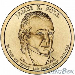 1 dollar. 11th US President. James Polk. 2009