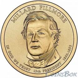 1 dollar. 13th US President. Millard Fillmore. 2010