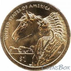 1 Доллар Сакагавея Индеец с лошадью 2012
