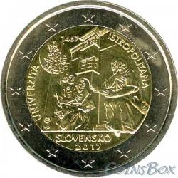 Словакия 2 евро 2017 год. Истрополитанский Университет