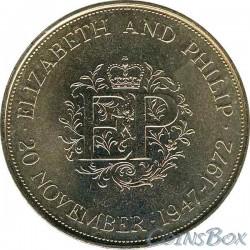 Англия 25 пенсов 1972 Свадьба Елизаветы и Филиппа
