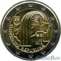 Словакия 2 евро 2018 год. 25 лет Республике