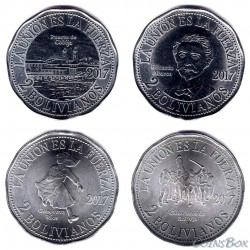 Bolivia 2 Boliviano 2017. 2nd Pacific War, a set of 4 coins