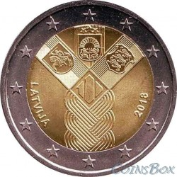 Latvia 2 euro 2018. 100 years of independence of the Baltic countries