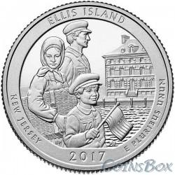 25 центов 2017 39-й Национальный монумент острова Эллис