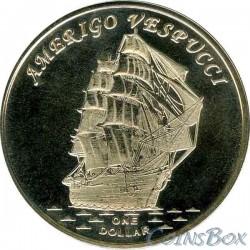 Острова Гилберта 1 доллар 2017 Корабль Америго Веспуччи