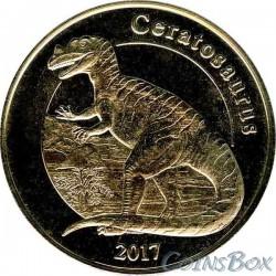 Остров Майотта 1 франк Цератозавр 2017