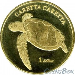 Island Moorea 1 dollar 2017 Turtle