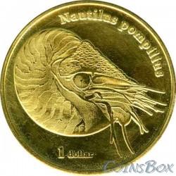 Island Moorea 1 dollar 2018 Nautilus pompilius