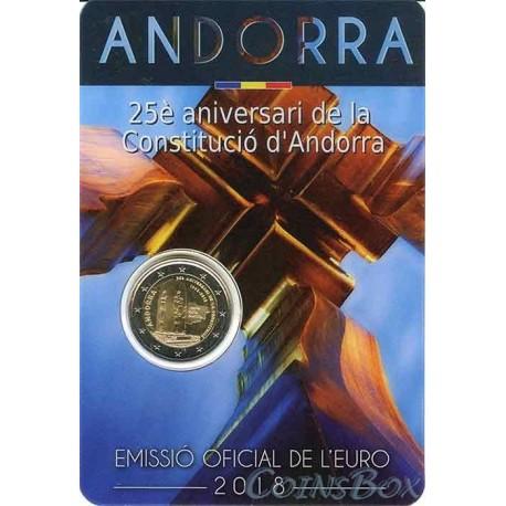 Андорра 2 евро 2018  25 лет конституции