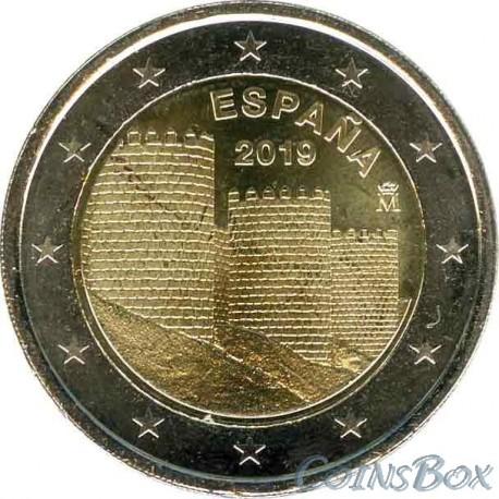 Испания 2 евро 2019 год.  Старый город Авила