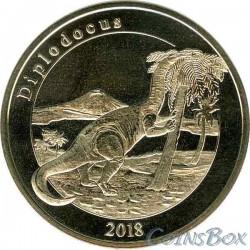 Остров Майотта 1 франк Диплодок 2018