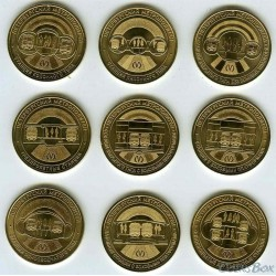 Tokens Metro St. Petersburg jubilee edition 2019 Types of stations 9 pieces