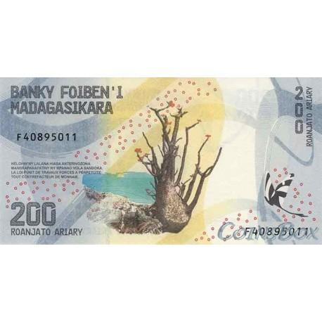 Banknote of Madagascar 200 Ariari 2017