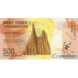 Banknote of Madagascar 500 Ariari 2017