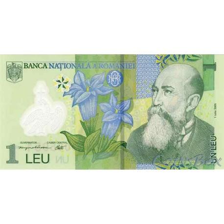 Banknote Romania 1 lei 2005.