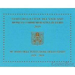 Ватикан 2 евро 2019 год. 90-летие основания города‑государства Ватикан