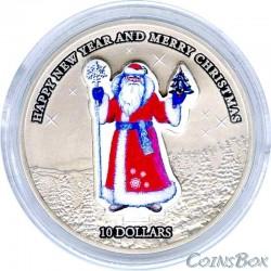 Науру 10 Долларов 2008 год Дед Мороз
