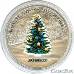 Науру 10 Долларов 2008 год Новогодняя Елка