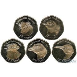 Фолклендские Острова 50 пенсов 2018 Пингвины набор монет