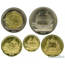 Tortuga 2019. Sailboats Set of coins 5 pcs.