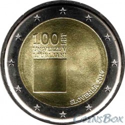 Slovenia 2 euro 2019 year. 100th anniversary of the University of Ljubljana