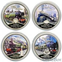 Ниуэ 2 доллара 2010 Знаменитые паровозы. Набор монет 4 шт