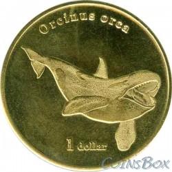 Island Moorea 1 dollar 2019 Killer whale