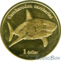 Island Moorea 1 dollar 2019 Great White Shark