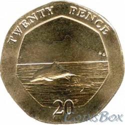 Gibraltar 20 Pence 2020 Dolphin