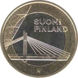 Finland 5 Euro 2012 Lapland (Lappi). Cable-stayed bridge