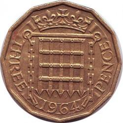 Англия 3 пенса 1964