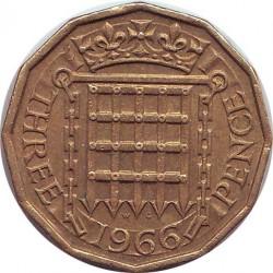Англия 3 пенса 1966