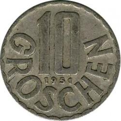 Австрия 10 грошей 1951