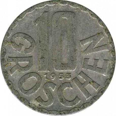 Австрия 10 грошей 1953